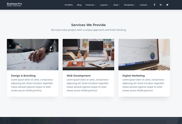 homepage services section